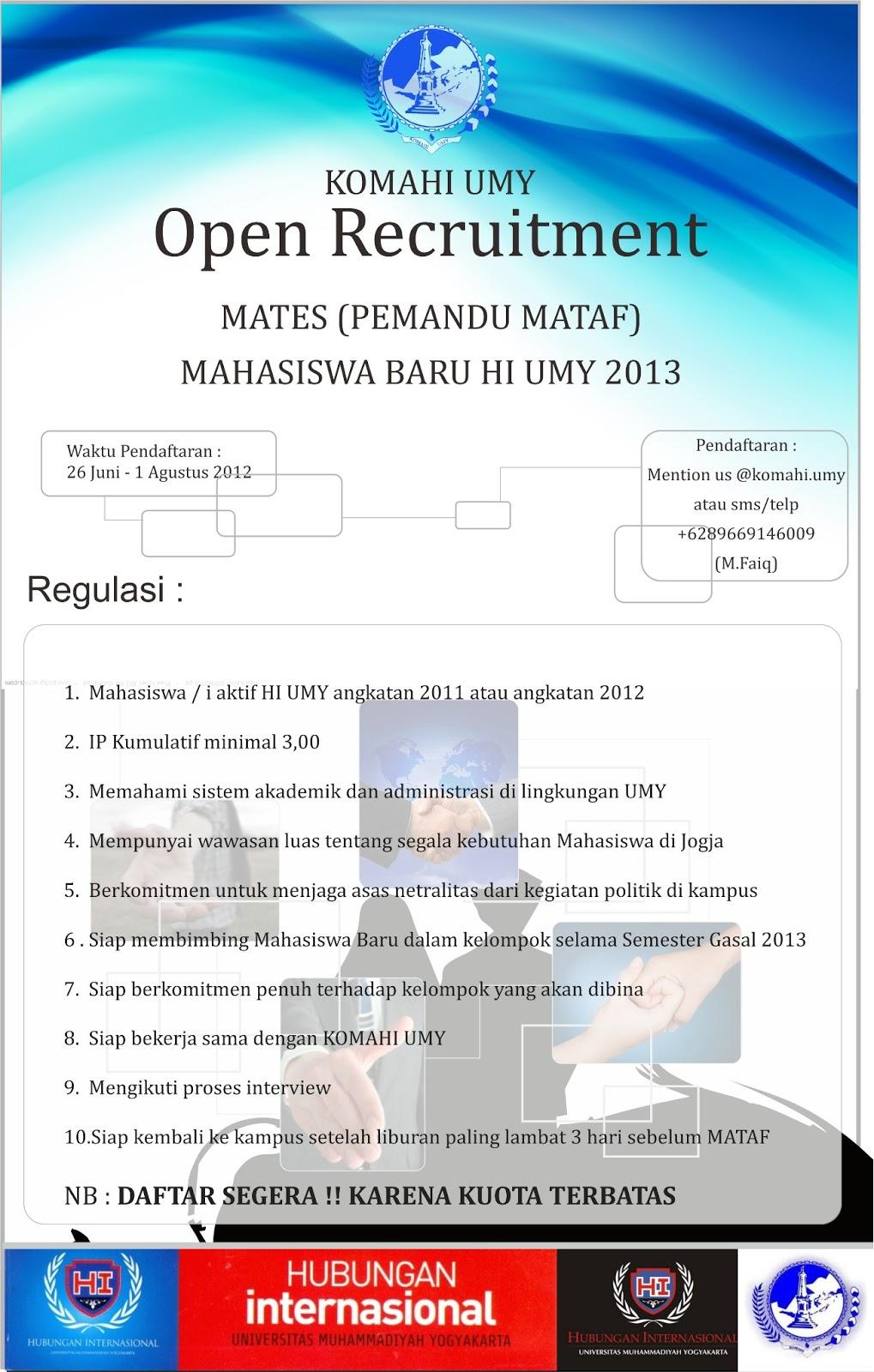 Open Recruitment Mates Pemandu Mataf Mahasiswa Baru Hi Umy 2013